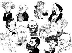 Composer caricatures - Berlioz, Chabrier, Mozart, Debussy, Chopin, Saint-Saens, Offenbach, Stravinsky, Ravel, Liszt, Bizet, Paderewski, Sibelius