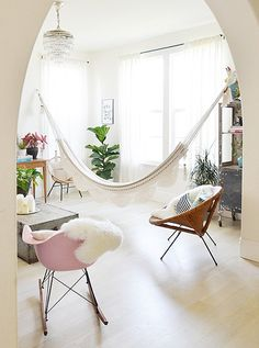 Is a Hammock the Hangout Spot You've Been Missing is part of Living Room Red Indoor Hammock - Strung indoors or out, we capital LOVE a hammock Living Room Hammock, Hammock In Bedroom, Living Room Red, Living Spaces, Indoor Hammock Bed, Eno Hammock, Hammock Ideas, Hammock Stand, Comfortable Living Rooms