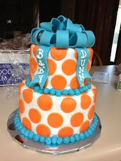 Sarah Jones Cakes!: Baby Shower Cake, Orange polka dots with blue bow