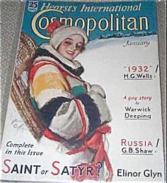 $74 COMPLETE vintage Art Deco era  ISSUE OF COSMOPOLITAN MAGAZINE FOR 01/1932. COVER BY HARRISON FISHER. A WINTER lady with snowshoes.
