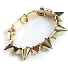 Boohoo Christie Stud + Spike Stretch Bracelet (22 BAM) ❤ liked on Polyvore featuring jewelry, bracelets, accessories, pulseiras, acessorios, spikes jewelry, spike bangle, stretch jewelry and studded jewelry