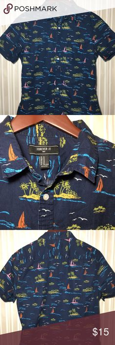 Forever 21 Navy sailboats shirt M Navy with sailboats Forever 21 in M Forever 21 Shirts Casual Button Down Shirts
