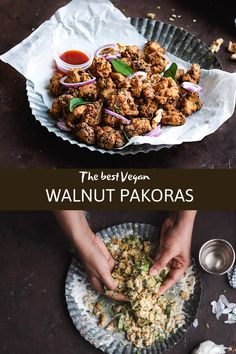 The best Walnut Pakoras - This highy addictive and easy snack made with healthy walnuts, chickpea flour and spices is crunchy, tasty and perfect for any occassion..! #walnutrecipes #pakoras #diwalirecipes #vegansnacks #healthysnacking #appetizers #sidedish | cookingwithpree.com