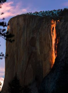 For a brief window of time each February, the sun works its magic on Horsetail Falls in Yosemite National Park to produce what's known as a 'firefall.' This happens when the sun sets and hits the waterfall in such a way that it looks like flowing fire.