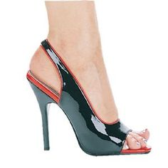 5 Inch Square Heel Womens Black and Red Two Tone Peep Toe Slingback Costume Sandals comes with a peep toe front and open back secured by a cross strap in a eye catching two tone color of black with red trim to accessorize womens vampiress, devil, witch, and a variety of other Halloween and Party costumes.