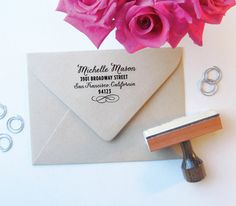 Items similar to Lovely Ampersand Address Stamp - Custom Stamp - Wooden Handle Stamp - Classic Stamp - Rubber Stamp - & - Ampersand Stamp on Etsy Custom Address Stamp, Custom Stamps, Wedding Stationary, Wedding Invitations, Invites, Our Wedding, Dream Wedding, Wedding Ideas, Wedding Decor