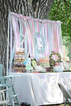 A very sweet dessert table with a  DIY paper background and empty frames? SO Alice in Wonderland!