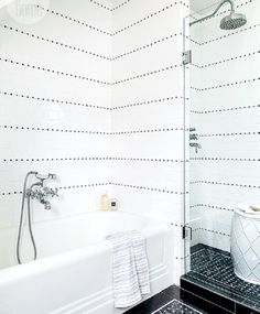white on black shower black basketweave tile floor cococozy styleathome