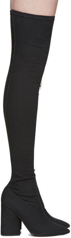 YEEZY - Black Stretch Canvas Thigh-High Boots