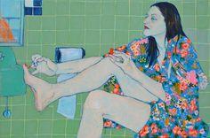 © Hope Gangloff, Sara Vanderbeek in her bath closet - Contemporary Artist - Figurative Painting