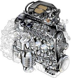 Automotive illustration. Cutaway, ghosted,and phantom view engines, transmissions, etc..