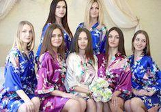 Floral blue silk robe