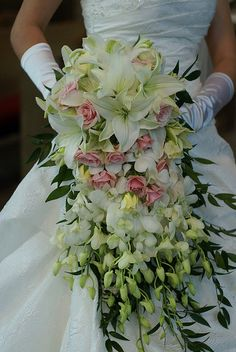 Cascade bouquet in pink and white, lush