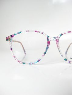 1980s Vintage L'Amy Glasses Colorful Confetti Eyeglasses Clear Eyeglass Frames French France Womens Ladies Girls Girly 80s Blue Purple Teal