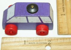 "WOODEN PURPLE TOY CAR GENERIC BRAND 1"" X 2"" WOOD 4 WHEEL VEHICLE UNBRANDED USED #Unbranded"