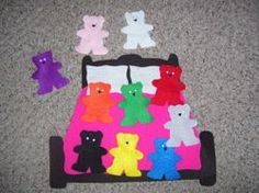 Eleven in the bed with color bears ~ Pink, Gray, White, Brown, Black, Purple, Orange, Red, Yellow, Blue, and Green!  Going to use this to reinforce Spanish Colors!!