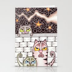 Cats under a Tree Stationery Cards by Kai-Zen Doodles - $12.00