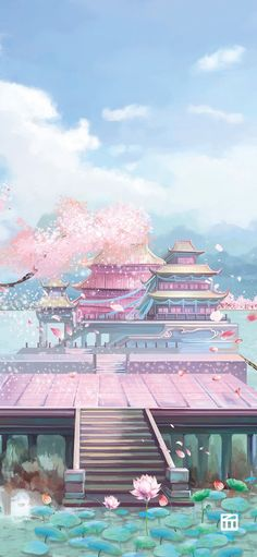 aesthetic pastel ipad wallpaper landscape Anime Backgrounds Wallpapers, Anime Scenery Wallpaper, Landscape Wallpaper, Aesthetic Pastel Wallpaper, Aesthetic Wallpapers, Fantasy Art Landscapes, Fantasy Landscape, Landscape Art, Cherry Blossom Wallpaper