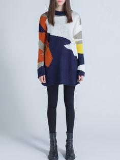 #AdoreWe #StyleWe Sweaters - Sikya Long Sleeve Casual Wool Blend Shift Color-block Sweater - AdoreWe.net