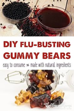 Flu Remedies Flu Busting Gummy Bears This Flu Busting gummy bears recipe is made with homemade elderberry syrup and gelatin for an immune boosting, gut healthy treat for kids of all ages! Elderberry Gummies, Elderberry Syrup, Elderberry Recipes, Healthy Treats For Kids, Healthy Snacks, Healthy Man, Fruit Snacks, Healthy Recipes, Homemade Gummy Bears