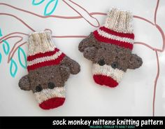 Sock Monkey Mittens! Toddler to Adult sizes!  Like me over on Facebook - http://www.facebook.com/aunt.janets
