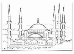 Collection of Landmarks Around The World Coloring Pages - A landmark is a famous site, building or statue that has historical significance. For example. I icon Outline Drawings, Pencil Art Drawings, Turkey Coloring Pages, Coloring Books, Sainte Sophie Istanbul, Blue Mosque Turkey, Statue, Turkey Drawing, Watercolor Kit