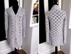 Crochet dress with lace - CreaChick Cardigan Au Crochet, Crochet Coat, Crochet Shawl, Crochet Clothes, Crochet Shell Pattern, Crochet Jacket Pattern, Long Cardigan Coat, Summer Cardigan, Sewing A Button