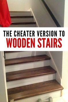 From Carpet to Wood Stairs Redo - Cheater Version. stairs to wood transition From Carpet to Wood Stairs Redo - Cheater Version. Wood Stair Treads, Hardwood Stairs, Hallway Flooring, Wood Staircase, Wooden Stairs, Laminate Stairs, Painted Stairs, Spiral Staircases, Banisters