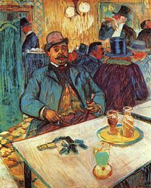 Monsieur Boileau au café by Henri de Toulouse-Lautrec who was notorious for his consumption of the green muse. Lautrec was even known to carry a hollow cane filled with absinthe during long nights out in Paris.
