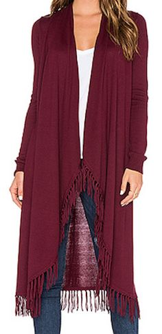 Long red warm cardigan