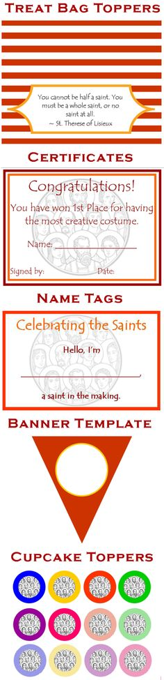 All Saints Day party printables