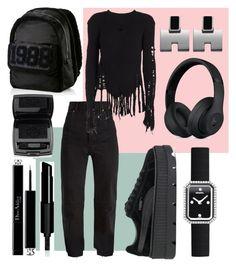 """All blaaaak"" by jasminsangalyan on Polyvore featuring Vetements, Puma, Chanel, Christian Dior, Balmain, Givenchy, Lancôme, Fall, allblack and allblackeverything"