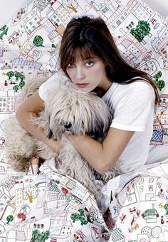 Marimekko sheets - as used for cuddling by Jane Birkin and a dog.