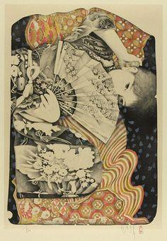 Kyosuke Chinai Kyosuke Tchinai (b. Manga Illustration, Graphic Illustration, Geisha, Japanese Prints, Japan Art, Chinese Art, Figurative Art, Traditional Art, Love Art