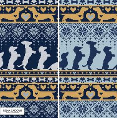Selma Cardoso patterns with adorable dogs Llama Christmas, Christmas Origami, Arctic Animals, Origami Design, Dog Years, Fair Isle Knitting, Surface Pattern, Graphic Design Illustration, Cat Love