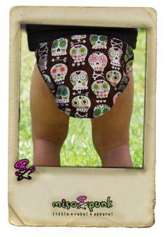 Bones and Arrows Sugar Skulls Diaper cover | MamaSan Apparel