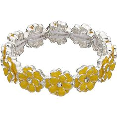 Napier Flower Stretch Bracelet ($17) ❤ liked on Polyvore featuring jewelry, bracelets, yellow, fake jewelry, artificial jewellery, floral jewelry, blossom jewelry and napier