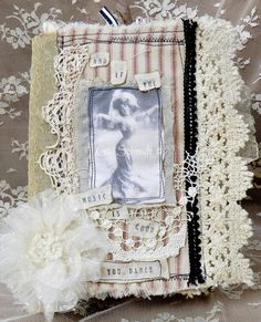 Handmade Fabric Art Book Mixed Media Collage Vintage Laces and Trim French or Paris Look
