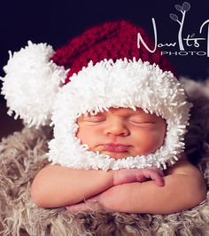 Santa baby hat, just so darn cute! Crochet For Kids, Crochet Baby, Knit Crochet, Crocheted Hats, Santa Baby, Baby Hat Patterns, Crochet Patterns, Christmas Love, Xmas