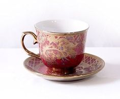 Amazon.com | Ambilight Porcelain 6-ounce Coffee Cup and Saucer Red Chintz with Gold Trim, Red, B1, outstanding decorative cups: Cup & Saucer Sets