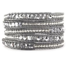 Chan Luu - Crystal CAL and Nugget Wrap Bracelet on Grey Leather, $295.00 (http://www.chanluu.com/wrap-bracelets/crystal-cal-and-nugget-wrap-bracelet-on-grey-leather/)