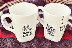 Selbstgestaltete Tassen für sie und ihn! Romantisches Geschenk für 2 ♥ stylefruits Inspiration #DIY #Gift