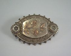VICTORIAN MOURNING LOCEKT Hair Picture Keepsake Box Pin Brooch-Antique Vintage Rose Gold & Sterling Silver-Glass-Leaves Flowers Balls-00403