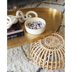 Insta Pics in bowl -- Brady's Living Room Reveal - Coffee Table Styling Brass Coffee Table, Coffee Table Styling, Bed Styling, Muji, Stylish Home Decor, Living Room Inspiration, Living Room Designs, Living Rooms, Living Spaces