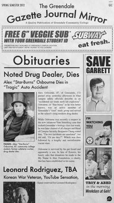 Star-Burns Obituary in The Greendale Gazette Journal Mirror #Community #SixSeasonsAndAMovie
