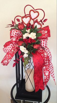 """""""HEARTS & ROSES"""" -  Decorative Valentine's Day Lantern Swag Decoration, $39.95 by DecorClassicFlorals on Etsy"""