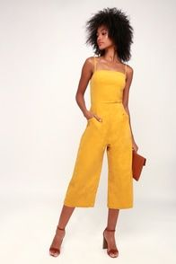 6293db27a02 Beach Club Golden Yellow Striped Wide-Leg Jumpsuit