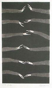 tetsuo aoki 青木鐵夫[手と手と] '02, 木版