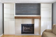 Rustic Barnwood Mantel Fireplace Lettered Cottage (planked wall, built ins, rustic mantel)