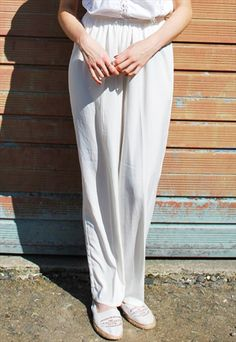 824f2ea907c Vintage 90s White Silky Trousers